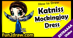 Learn to draw Hunger Games' Katniss wearing her Mockingjay dress!