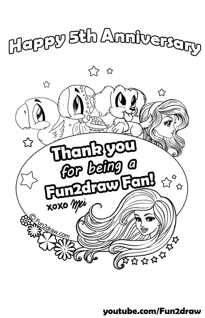 Black and white colouring page, celebrating Fun2draw's 5th year anniversary