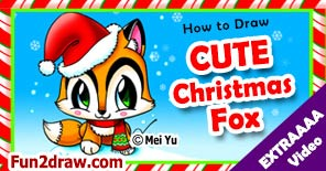 Draw this Christmas Santa fox for the winter holidays!