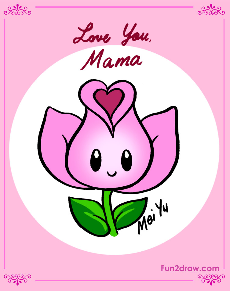 A cute flower design for a Mother's Day card