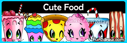 Art lesson videos on drawing cute and kawaii food characters