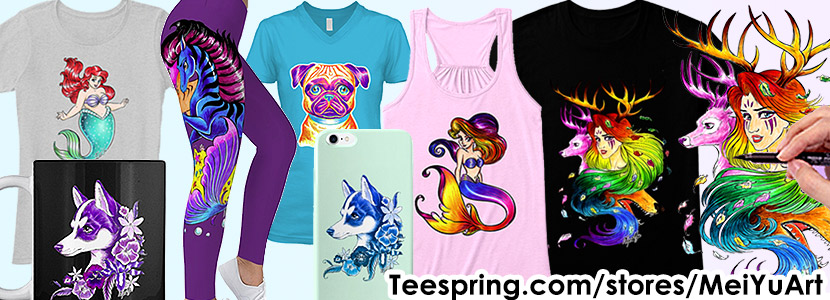 Mei Yu's apparel store on Teespring, showcasing her art-featured merchandise and 